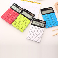 Hotsale Calculadora Slim Portable Mini 12 Digital Calculator Deli Solar Energy Tablet Buttons Keyboard Dual Power