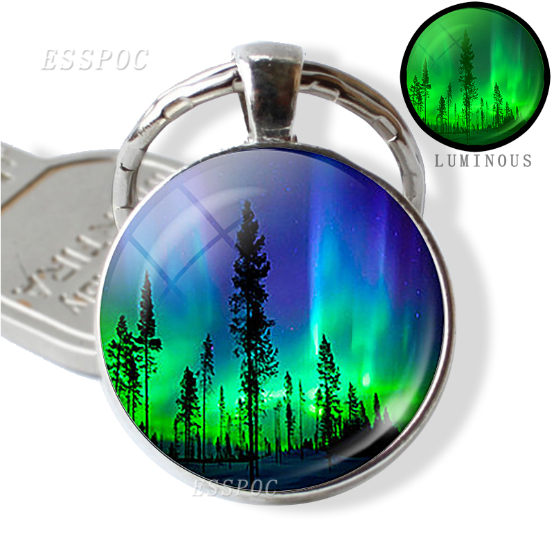 Northern Lights Keychain Luminous Key Chain Pendant Glass Metal Keyring Universe Planet Keychain Astronomy Lover Gift