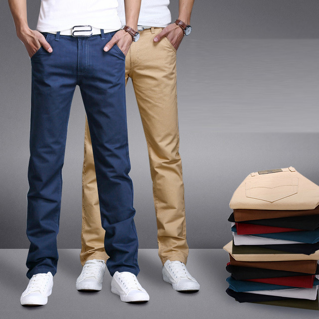 b578ad5a 2016 Mens Casual Cotton Slacks Pants Khakis Black Clothing Men Pant Slim  Fit Chinos Straight Trousers