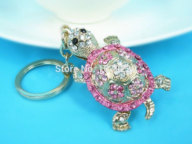 T Turtle Keychain Auto přívěšek na klíče Roztomilý drahokamu Crystal Charm přívěšek přívěšek na klíče Nový móda