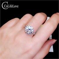 Ювелирные изделия colife 3ct Moissanite кольцо для свадьбы 9 мм Круглый Муассанит серебряное кольцо для помолвки 925 серебро Moissanite Jewwelry