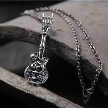 цена на 925 Sterling Silver Punk Rock Accessories Fashion Rock Hip Hop Skeleton Guitar Victory Gesture Instrument Necklace Pendant