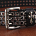 Fashion punk rivet punk metal nail cowhide genuine leather 100% leather needle belt