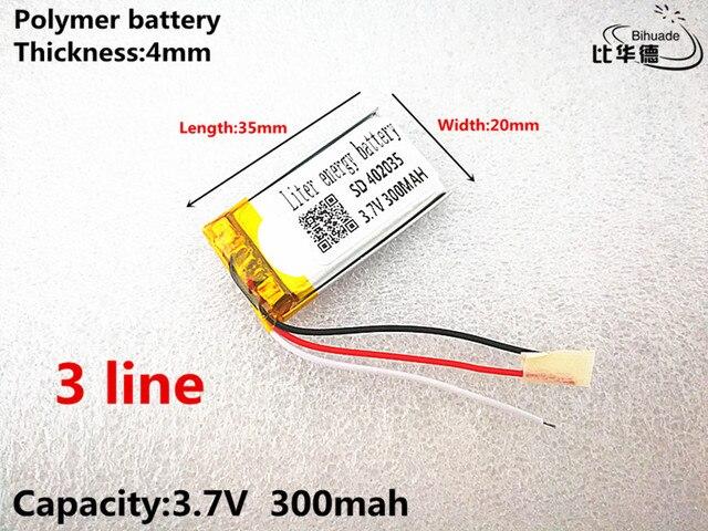 3 קו טוב Qulity 3.7 V, 300 mAH, 402035 פולימר ליתיום יון/ליתיום סוללה עבור צעצוע, כוח בנק, GPS, mp3, mp4