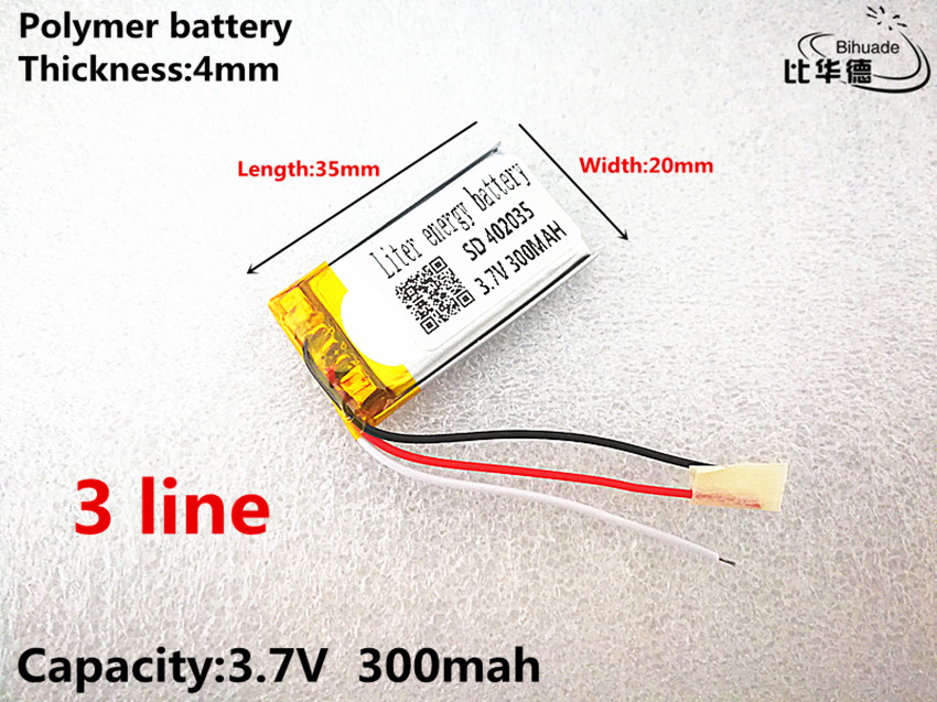 3 line Good Qulity 3.7V,300mAH,402035 Polymer lithium ion / Li-ion battery for TOY,POWER BANK,GPS,mp3,mp43 line Good Qulity 3.7V,300mAH,402035 Polymer lithium ion / Li-ion battery for TOY,POWER BANK,GPS,mp3,mp4