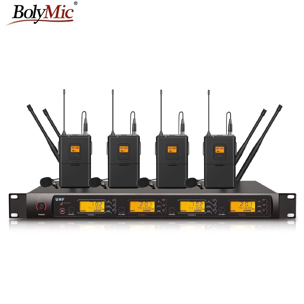 buy bolymic four channels uhf pll wireless lapel microphone lavalier system for. Black Bedroom Furniture Sets. Home Design Ideas