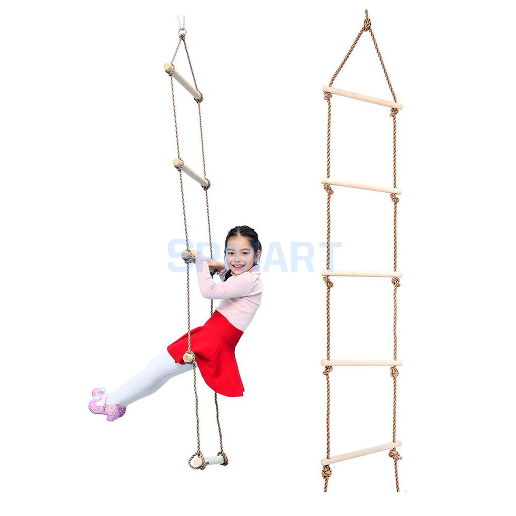Kids Indoor and Outdoor Playhouse Wooden 5 Rungs 300KG Rope Climbing Ladder Garden Game Sports Toy children toy swing outdoor indoor wood ladder rope playground games for kids climbing rope swing wooden 5 rungs pe rope