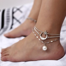 OLOEY 2019 Retro Boho Anklets For Women Popular Geometric Foot Chains Ornaments Female Simple Moon Stars Pearl Anklet Jewelry