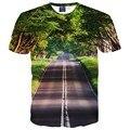 Bonito Paisaje Camiseta para los hombres/de las mujeres de impresión camiseta 3d árboles verdes y limpiar la carretera ocasional remata camisetas camiseta envío gratis