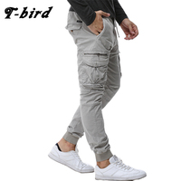 T Bird New 2017 Brand Casual Joggers Solid Color Compression Pants Men Cotton Trousers Calabasas Cargo