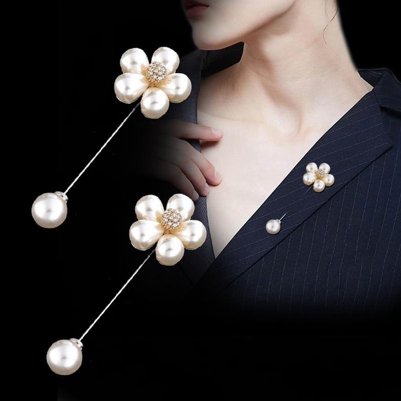 Korean retro brooch simple fashion word pearl female pin flower shirt sweater pin Brooch Cardigan Silk Scarves Buckle Pin