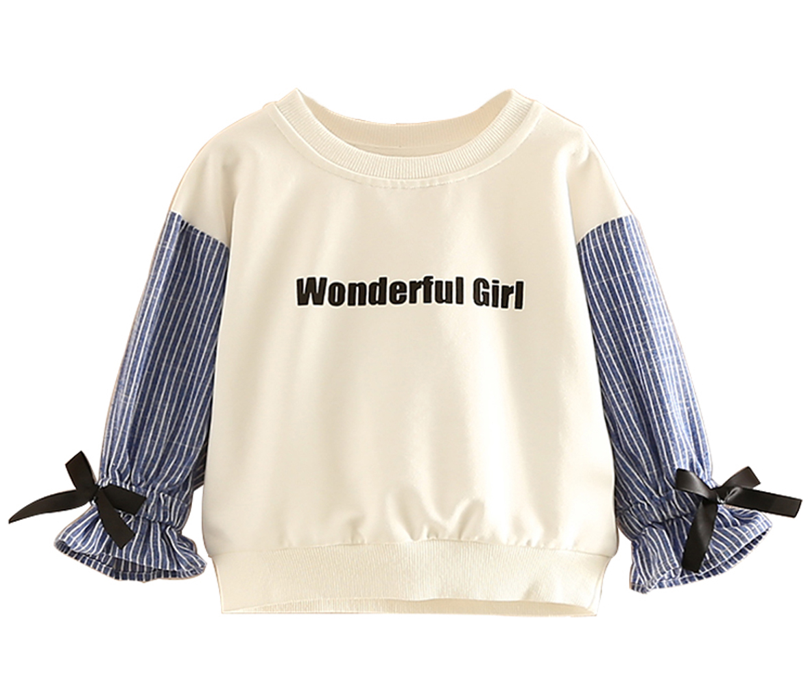 2018 Baby Girl Long Sleeve Tops Blouse O-neck Fashion Stripe Patchwork Shirt For Girl Spring Classic Letter Printed Kids Clothes elegant jewel neck long sleeve faux twinset design blouse for women