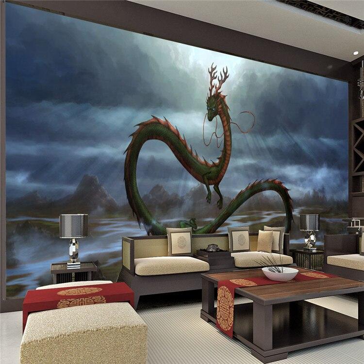 Vintage Dragon Wall Mural 3D Wallpaper Cartoon Animation