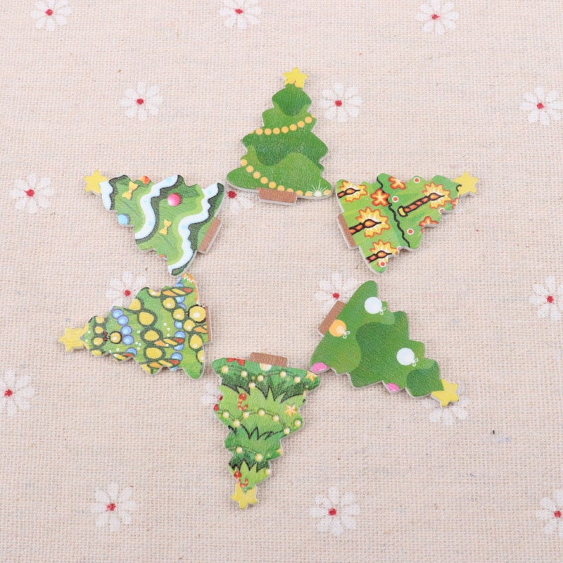 Wooden Mixed Christmas Tree Pattern Scrapbooking Art Collection Craft Handmade Sewing Home Decoration 25x35mm 20pcs MT0887-FD
