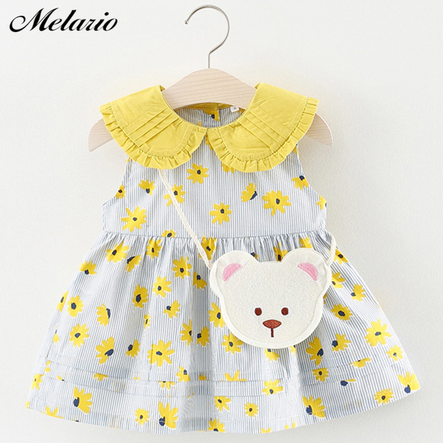 69f35f133f41 Melario Baby Dresses 2019 New Summer Baby Girls Clothes Cartoon Printing  Girls Party Dress Princess Dress Flower Stripe Dress