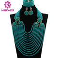 New Nigerian Wedding African Crystal Beads Jewelry Set 12 Layers Turquiose Blue Gold Plated Jewelry Set Free Shipping ANJ029
