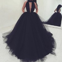 Custom Made Dress Party A Line Abendkleider 2018 vestido de festa longo Black Evening Dress Backless abiye Robe De Soiree