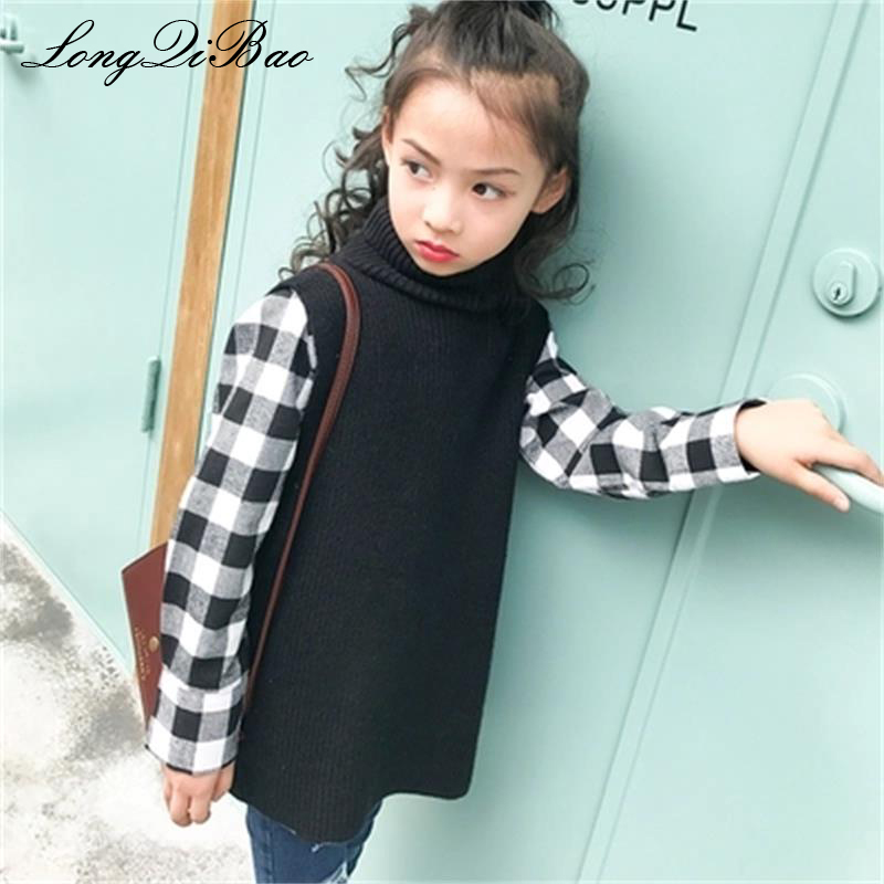 Baby girl sweater 2018 new set of autumn and winter models in the big children's sleeveless sweater plaid shirt two sets of tide 2017 autumn girl doll shirt the fashionable two piece set of pure color lotus leaf coat with harness sets tide