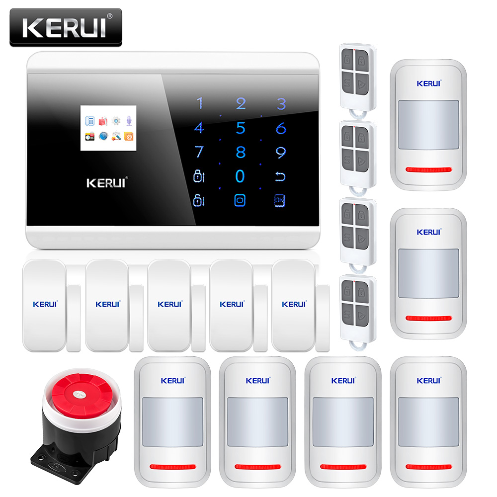 KERUI 8218G APP IOS Android GSM PSTN Dual Wireless Home Alarm Security System English Russian Spanish French Voice Touch keypad free shipping 850 900 1800 1900mhz english russian voice dual net touch keypad lcd display gsm pstn net security system alarm
