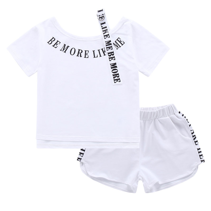 2019 Kids Girls Double Sided Tape Clothes Set Summer Girls Outfits Letter Print Double Sided Tape Tracksuit 2Pcs Set in Clothing Sets from Mother Kids