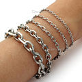 2.5mm 3mm 4mm 6mm 10mm Rolo Cable Mens Chain Boys Silver Tone Stainless Steel Bracelet Wholesale Jewelry Gift LKBM41