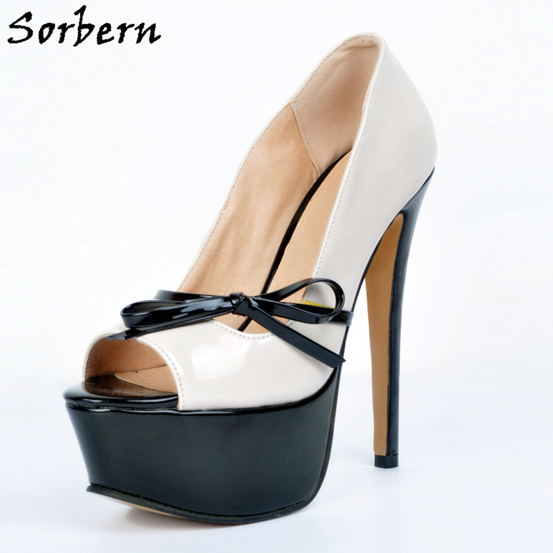 Sorbern Butterfly Knot Women Pumps High Heels Peep Toe Slip On Platform Shoes Ladies Sexy Platform Heels Women Fashion Shoes meotina women wedding shoes 2018 spring platform high heels shoes pumps peep toe bow white slip on sexy shoes ladies size 34 43