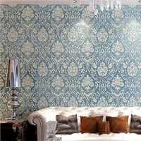 0 53M X 10M Damask Embossed 3D Textured Feature Wall Paper Wallpaper Light Blue Papel De