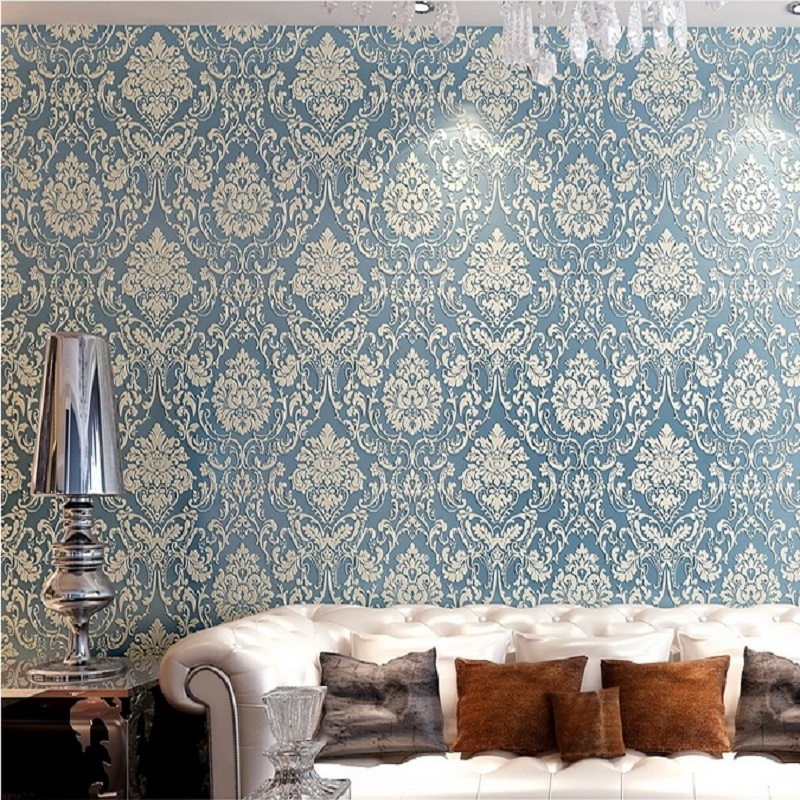 0.53M x 10M Damask Embossed 3D Textured Feature Wall Paper Wallpaper Light Blue papel de parede Wallpaper Rolls wallpaper modern anchos travelling boat modern textured wallcoverings vintage kids room wall paper papel de parede 53x1000cm