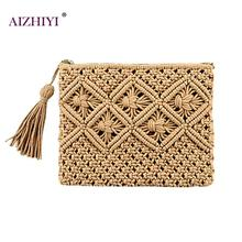Lady Fashion Small Casual Solid Color Bohemian Tassel Clutch Zipper Handmade Wal