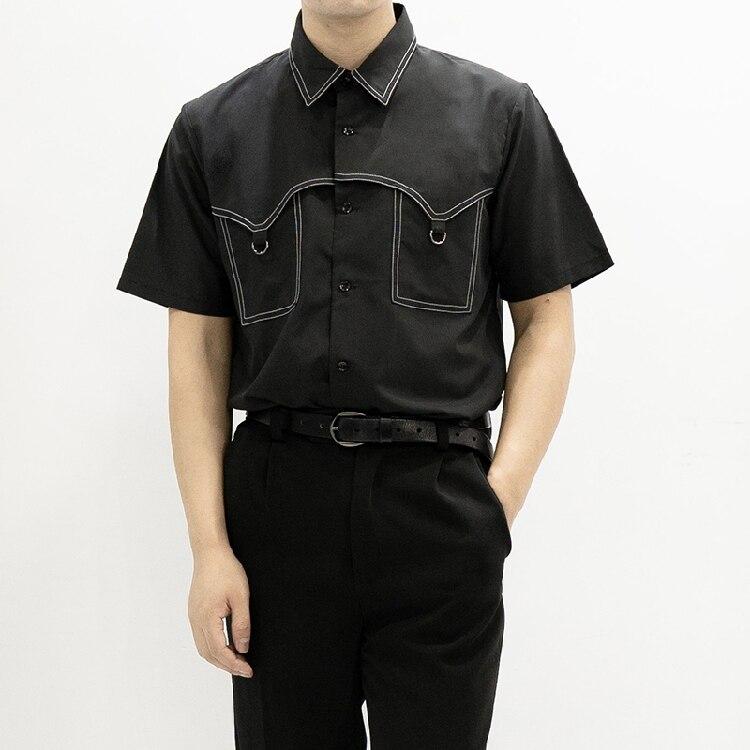 Original homemade men's short-sleeved shirt pressure line circle circle slim shirt  S-5XL!Plus-size tailored men's wear