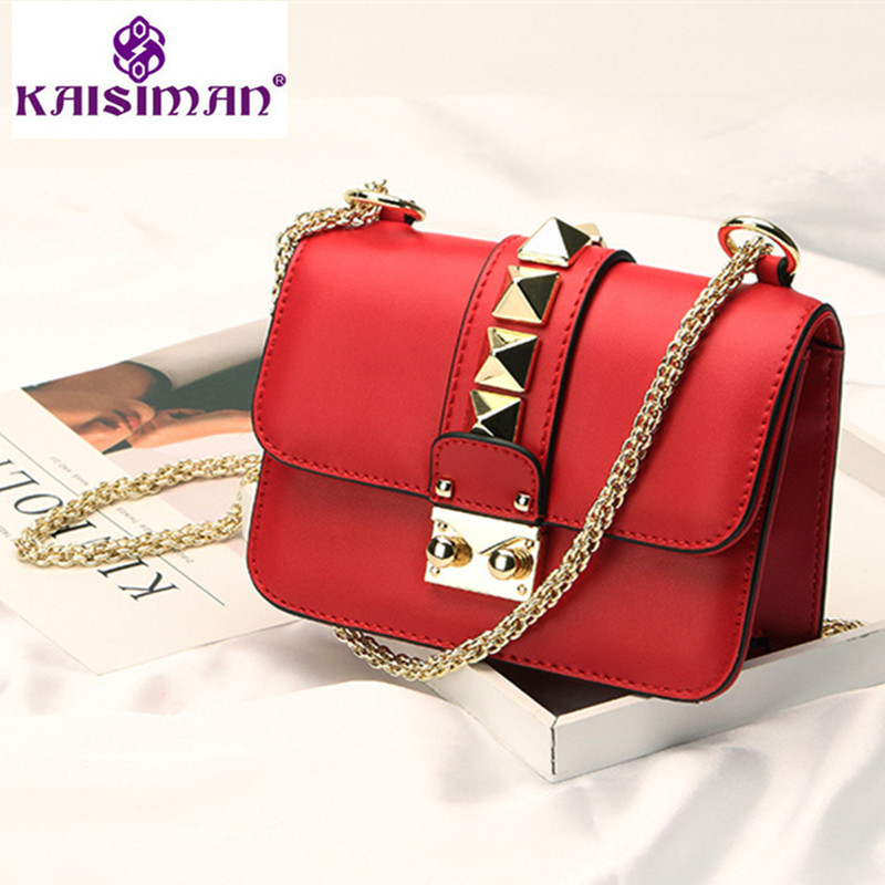 Luxury Flap Handbag Women Designer Leather Chain Shoulder Bag Gold Metal Buckle Fashion Pyramid Rivet Messenger Bag Small Clutch lacattura luxury handbag chain shoulder bags small clutch designer women leather crossbody bag girls messenger retro saddle bag