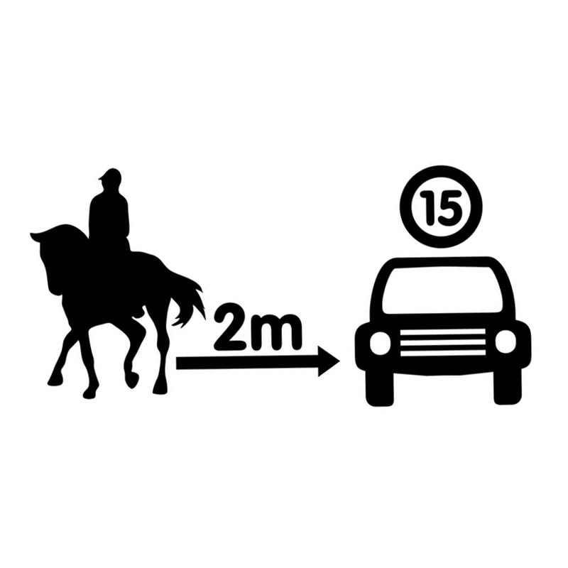 20cm*9.7cm Horse Gap Speed Overtaking Warning Fashion Car Sticker Car-styling Black/Silver S6-2882