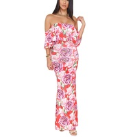 Plus Size Miss Ord 2018 Boho Bohemian Off Shoulder Floral Print Long Bodycon Maxi Party Dress Women Ladies Pleated Dresses