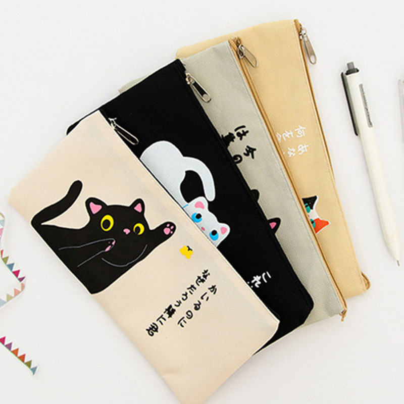 Newest Cute Cartoon Cat Pencil Case Pencil Bag Stationery School Students Gift Lovely Kitten Escolor Papelaria Office Supplies