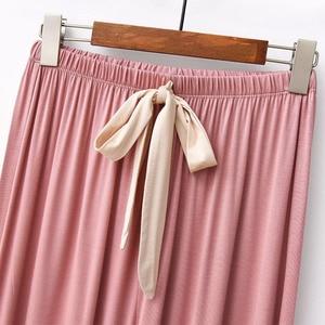 Image 5 - 2019 ฤดูใบไม้ผลิและฤดูใบไม้ร่วงชุดนอนสีทึบผู้หญิงสบายหลวมชุดนอน 2 ชิ้นชุดแขนยาว + กางเกงรอบคอ Homewear ชุด