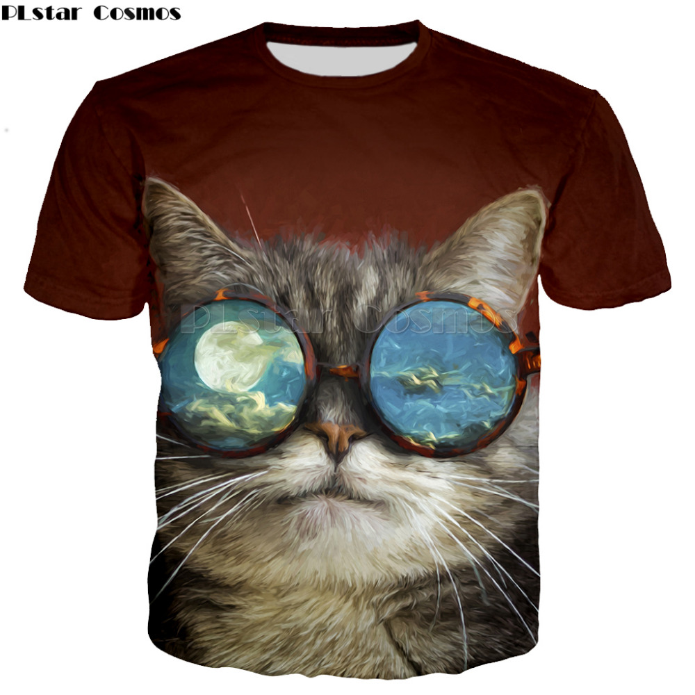 Famous cartoon cute cat pattern tops tees for women men plus size summer Shirt short sleeve fashion t-shirt promotion sale