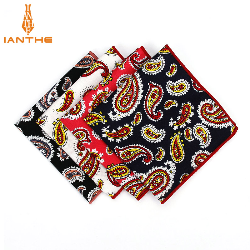 Brand New Men Suits Cotton Handkerchiefs Paisley Print Vintage Pocket Square Hankies Men's Business Square Pockets Hanky Towel