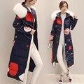 Invierno de Las Mujeres abajo de la capa larga Delgada Coreana gruesa desmontable blanco mujeres Parka abrigo de cuello Nagymaros Chaqueta de impresión