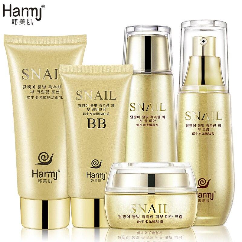 Korea Cosmetics Snail Skin Care Sets 5pcs Whitening Moisturizing Anti Aging Wrinkle Acne Treatment Repairing Beauty