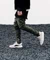 Black/Green korean hip hop fashion pants with zippers factory connection mens urban clothing joggers fear of god men yeezys