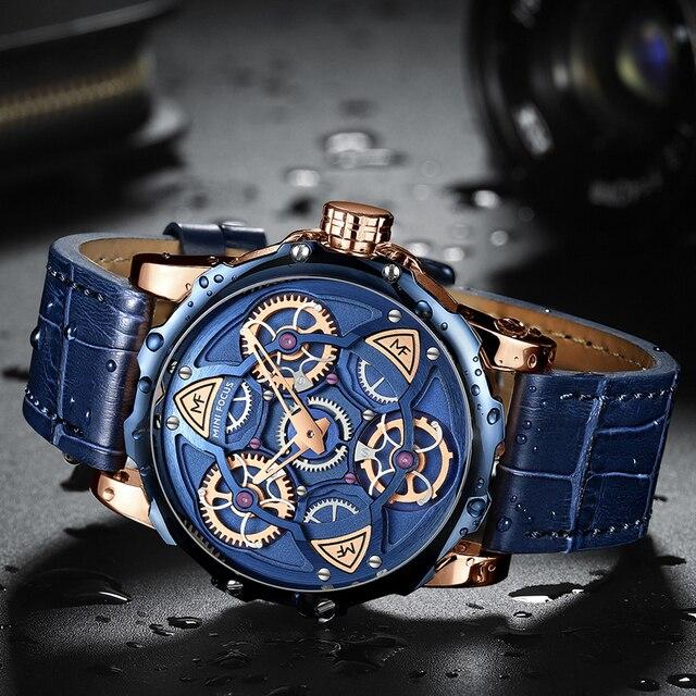 MINI FOCO Mens Relógios Top Marca de Luxo Projeto Do estilo Do Esporte Relógio de Quartzo Homens Pulseira de Couro Azul 30M À Prova D' Água Relogio masculino 3
