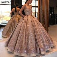 Блестящие бальное платье vestidos de 15 anos специальные блестками ткань Бальные платья 2018 Длинные Бесплатная доставка