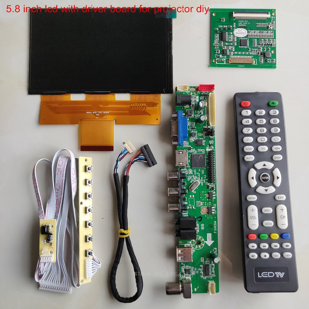 5.8 Inch 1280*768 Lcd Screen With 5 In 1 Driver Board DIY Projector Kit HD TV 16:9 Screen Diy Kit Support 1080p