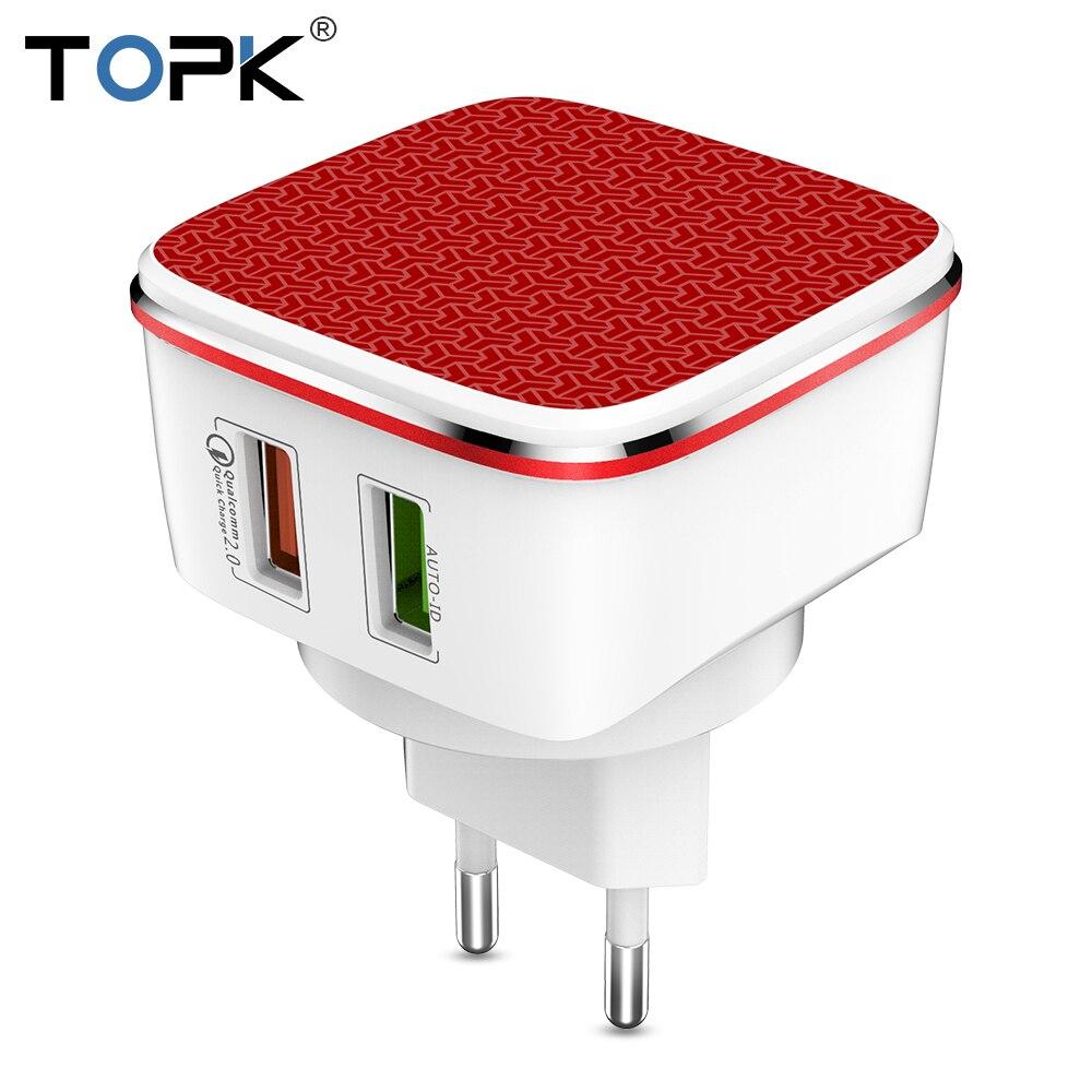 TOPK Rapide chargeur USB 21 W charge rapide 2.0 téléphone portable Chargeur Auto-ID Double USB Chargeur Mural adaptateur pour samsung Xiaomi Huawei