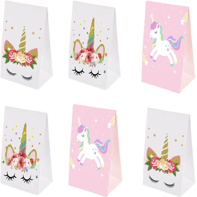 Omilut 5pcs Unicorn Bag Candy Kraft Paper Happy Birthday Party Kid Childrens Baby Decoration Suppl