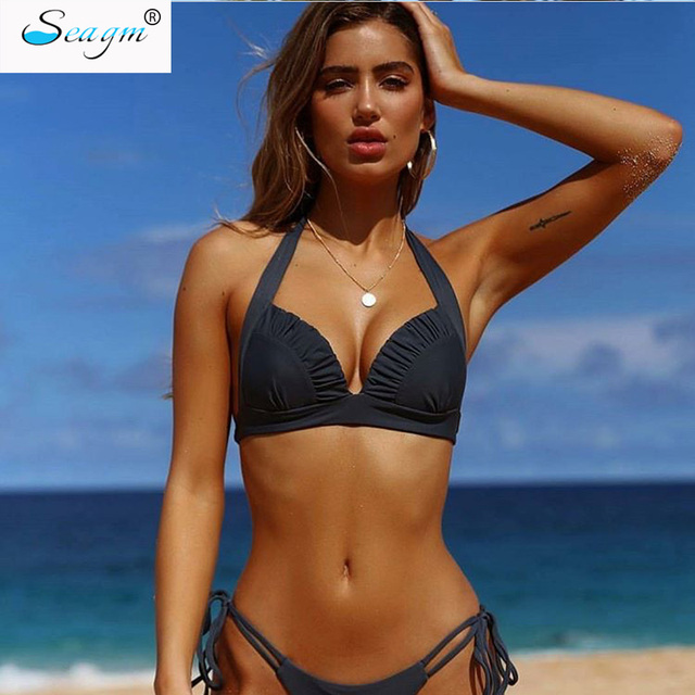 a22e77bca3e sexy brazilian bikini 2019 falbala solid swimsuit swimwear women's swimming  suit bandage thong bikinis women beach wear 324