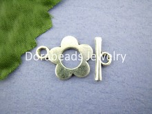 DoreenBeads 25Sets Tibetan Silver Flower Toggle Clasps Ring16*20mm (B00426), yiwu