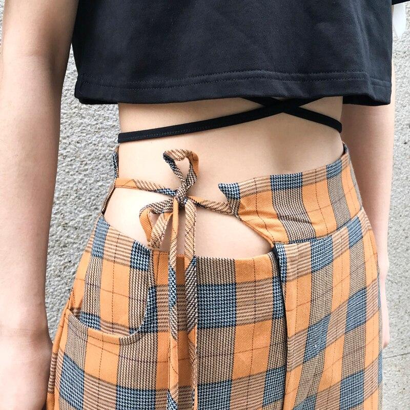 Spring Fashion Women Plaid   Wide     Leg     Pants   Orange New Loose High Waist Casual Trousers Femme High Street   Pant