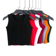 7 Color Fashion Round Neck T Shirt Women Summer Sexy Sleeveless High Waist Crop Top Cotton Bottom Tops T Shirt female Streetwear недорго, оригинальная цена