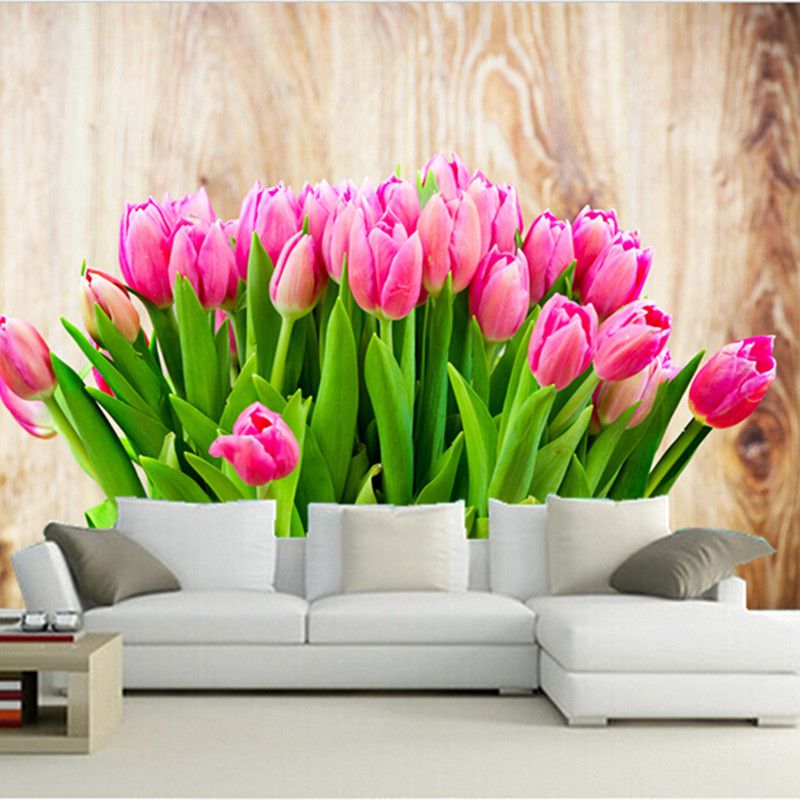 Custom 3D murals,Closeup Pink color Flowers Wallpapers Tulips,living room sofa TV wall children bedroom wall paper brightness falls